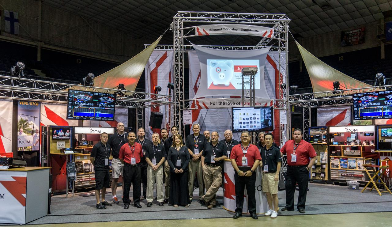 Icom America Amateur Radio tradeshow booth setup, personnel, and crew